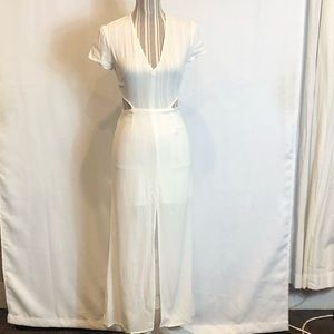 Lovers + Friends white maxi dress with lace back